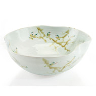 Curled-Rim Bowl in Greens and Yellows - Large