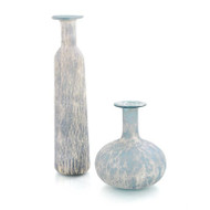 Set of Two Powder Blue Jar and Vase with Silver Overlay