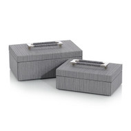 Set of Two Charcoal Confetti Leather Boxes