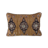 Taupe Pillow with Bronze and Chocolate Embroidery