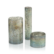 Set of Three Foil and Green Cylindrical Vases