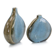 Set of Two Aqua and Earth Glass Vases