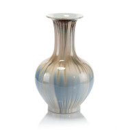 Hues of Earth and Blues Tall-Neck Vase
