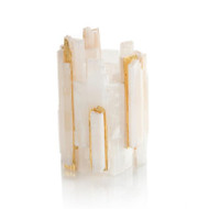 Selenite Votive Holder Inlaid with Gold I