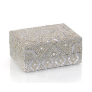 Hand-Beaded Box I - Grey