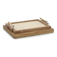 Set of Two White Confetti Leather and Wood Trays
