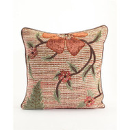 Copper Ribbon Weave Pillow with Floral Applique - Square