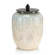 White and Smalt Blue Lidded Jar I