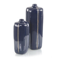 Set of Two Sapphire Blue with Grey Porcelain Vases