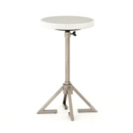 Four Hands Alana Adjustable Accent Table - Antique Pewter - White Marble