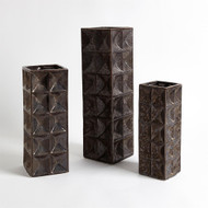 Square Grid Vase - Bronze - Sm