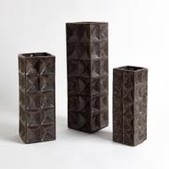 Square Grid Vase - Bronze - Lg