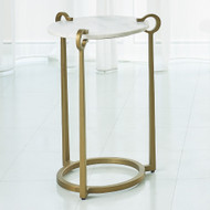 Studio A Round Clamp Accent Table - Brass w/White Marble