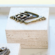 Studio A Bronze Conch Fossil Travertine Box