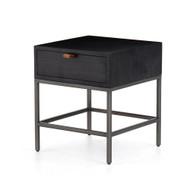 Four Hands Trey End Table - Black Wash Poplar