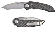 Rat Worx MRX Mini Chain Drive Knife Reverse Stonewash blade Carbon Fiber Handle