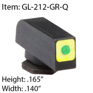 AMERIGLO PROGLO LUMIGREEN WITH SQUARE FRONT-GL-212-GR-Q for Glocks GEN 1-5