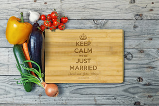 Personalised Chopping Board Standard - Just Married - Keep Calm