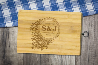 Personalised Chopping Board Standard - Couples - Floral 2