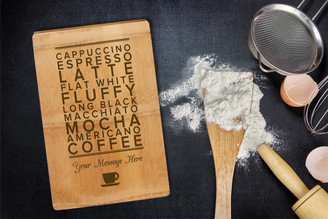 Personalised Chopping Board Premium - Coffee Words - Your Message