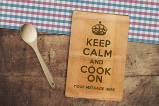 Personalised Chopping Board Premium - Keep Calm Cook On - Your Message