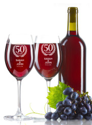 Personalised Wine Glass - Double set - Congratulations.