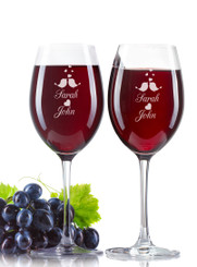 Personalised Wine Glass - Double set - Love Birds