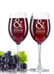 Personalised Wine Glass - Double set - Mr & Mrs