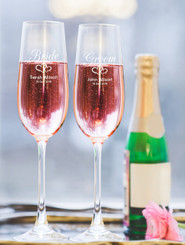 Personalised Champagne Glass - Double set - Bride & Groom.