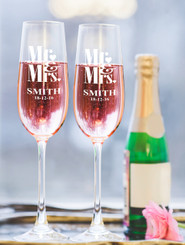 Personalised Champagne Glass - Double set - Mr & Mrs.