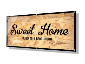 Business sign 30x60cm - Wood Chip