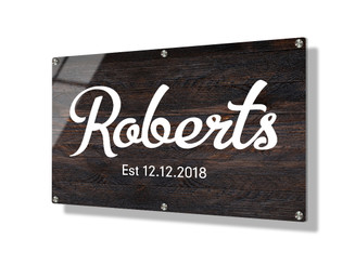 Business sign 50x75cm - Dark wood