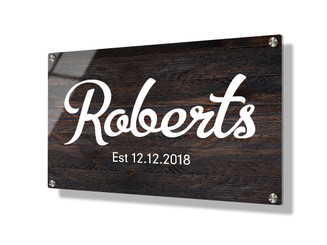 Business sign 20x30cm - Dark wood