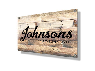 Business sign 15x20cm - Rustic wood