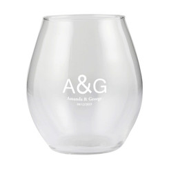 Personalised Stemless Wine Glass - Couple Initials & Names