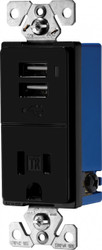 Combination USB Charger with Tamper Resistant Receptacle (TR7740BK)