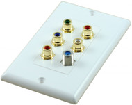 5 RCA Component with 3GHz F Connector Wall Plate White (CA-3455)