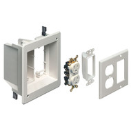 Double Gang Recessed Combination Power and Low Voltage Box Kit White (TVBR505K)