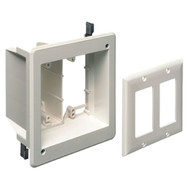 Double Gang Recessed Combination Power and Low Voltage Box White (TVBU505)