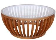 Circular Glass Top Drum Coffee Table