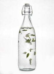Retro Clear Glass Water Bottle With Clip Lid 1000ml
