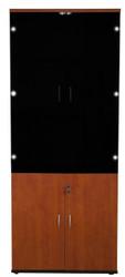 Cosmo 5T Wood/Glass Door Cabinet in Red Apple