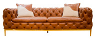 Shaker Buttoned Sofa In Leather (Vegetable Brown)