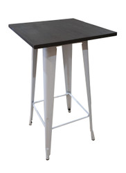 Bistro Bar Table In White & Elm Wood Top - OUT OF STOCK
