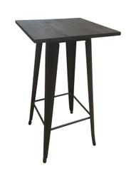 Bistro Bar Table In Black/Gold & Elm Top - OUT OF STOCK
