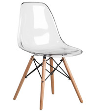 Eames Style Bistro Chair Without Arms in Clear - OUT OF STOCK