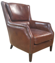 Bakers Arm Chair In Vegetable Brown Leather
