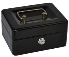 ITALPLAST I 06BLK DELUXE METAL CASH BOX 6 INCH 6 COMPARTMENT COIN TRAY WITH METAL LOCK, HANDLE AND 2 KEYS BLACK