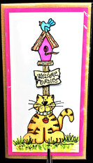 Cat With Bird House Tall