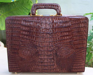 Chacolate Brown Genuine Hornback Crocodile briefcase